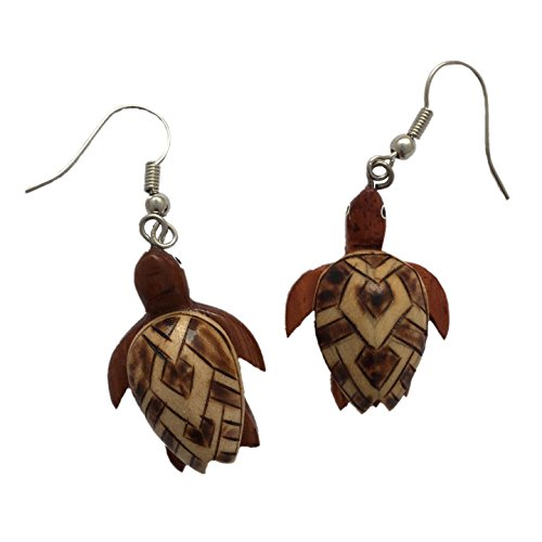 Hawaiian Koa Wood Honu Sea Turtle Earrings
