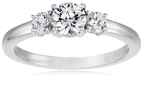 Platinum-Plated Sterling Silver Round 3-Stone Ring made with Swarovski Zirconia (1 cttw), Size 8 ()