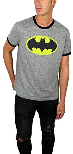DC Comics Mens Batman Ringer Tee (Large, Batman Charcoal) - Batman Ringer T-shirt