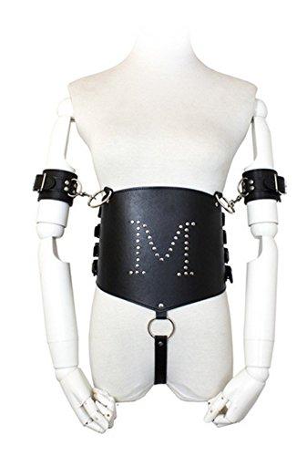 Bear boys M Erotic Punk Vinyl Leather-like Teddy Wet Look Lingerie & Leash Set leather Black Handcuffs Costumes