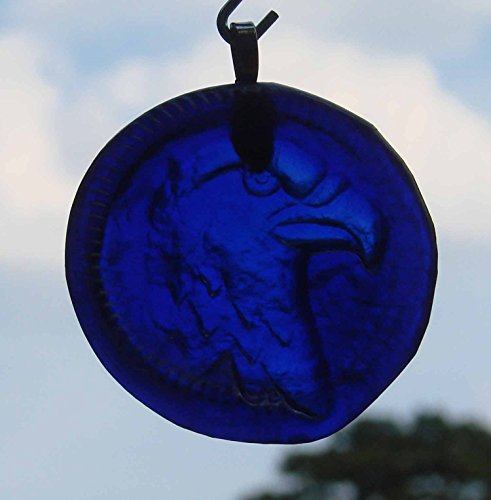 Eagle Ornament or Sun Catcher - Handmade Up-Cycled Blue Glass Bottle Bottom Ornament