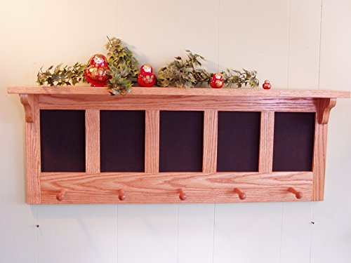 Message Coat Rack Center Wall Shelf with Chalkboard by Appletree Woodcrafts
