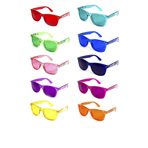 GloFX Color Therapy Glasses 10-Pack Chakra Glasses Chromatherapy Glasses Light - Chakra Sunglasses