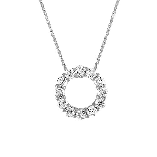 - Diamond 1.50CT Circle Pendant in 14K White Gold