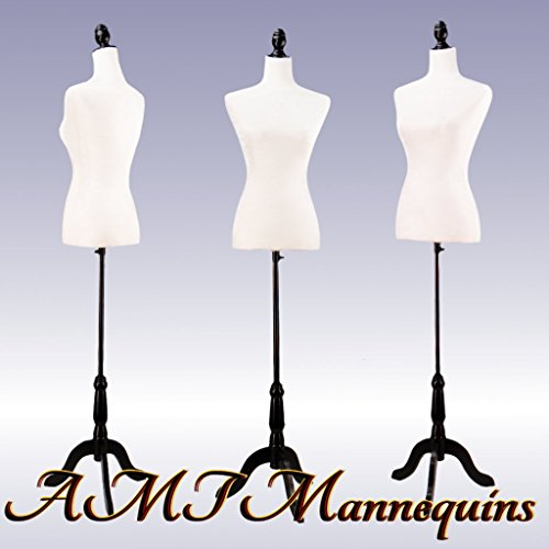 White Female Velour-Like fabric Mannequin Dress Form (On Black Tripod Stand)