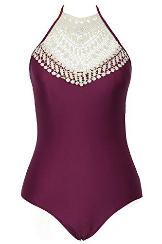 Cupshe Fashion Crochet Swimsuit Burgundy