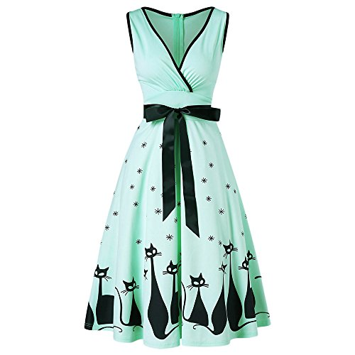 - BeautyGal Women's Vintage V Neck Sleeveless Cat Print Midi Surplice A-Line Fit and Flare Dress (Green M)