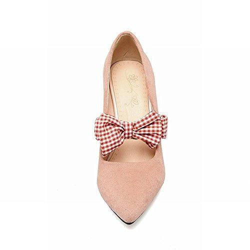 Dameslaarzen Geruite Bowknots Bungee Elegance Puntschoen Mary Janes Shoes Nude Pink