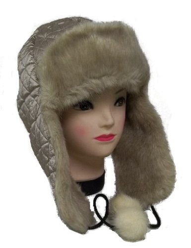 Ladies Faux Fur Gold Winter Trooper Aviator Hat Bomber Cap Trapper Aviator