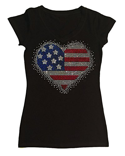 Womens Fashion T-Shirt with 4th of July Heart in Rhinestones (1X, Black Cap Sleeve) -