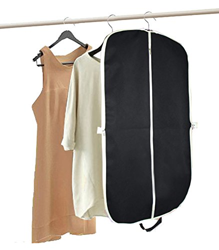 MISSLO Suit Garment Bag for Travel 42'' Zippered Clothes Cover (3 Packs, Black) by MISSLO (Image #6)