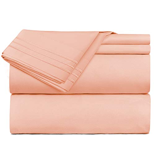 (Nestl Bedding 5 Piece Sheet Set - 1800 Deep Pocket Bed Sheet Set - Hotel Luxury Double Brushed Microfiber Sheets - Deep Pocket Fitted Sheet, Flat Sheet, Pillow Cases, Split King - Peach)
