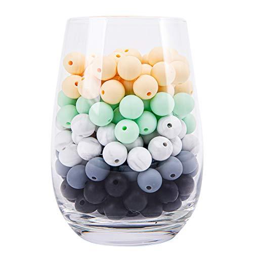 let's make Silikonperlen zum Zahnen | 12mm 50pc Schmuckherstellung Perlen | BPA-freie Kaubare Perlen für Beißringe, Stillketten, Armbänder i Lebensmittelqualität