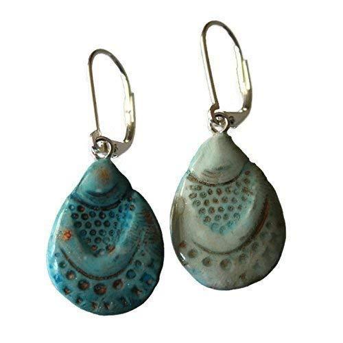 Turquoise Blue Teardrop Earrings - Bohemian Mermaid Seashell - REVERSIBLE 2 looks in 1! Art Clay Dangle Earrings