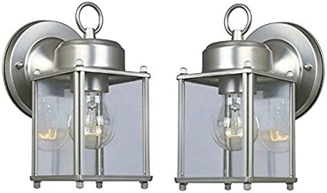 Outdoor Wall Lantern Pewter Finish 2 Pack