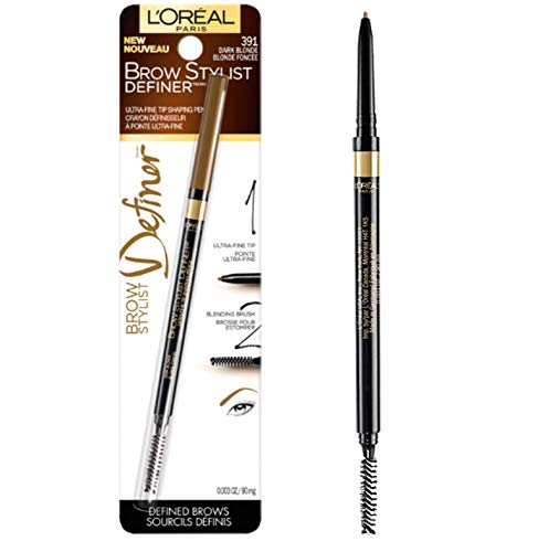 (L'Oréal Paris Makeup Brow Stylist Definer Waterproof Eyebrow Pencil, Ultra-Fine Mechanical Pencil, Draws Tiny Brow Hairs & Fills in Sparse Areas & Gaps, Dark Blonde, 0.003 oz.)