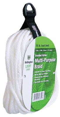 Wellington Cordage #16352 1/4''x50' White Nylon Cord
