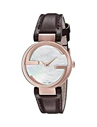 Gucci Women's 'Interlocking' Quartz Metal and Leather Automatic Watch, Color:Brown (Model: YA133516)