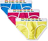 Diesel Men's 3-Pack Andre Cotton Stretch Briefs, Red/Blue/Yellow, XL