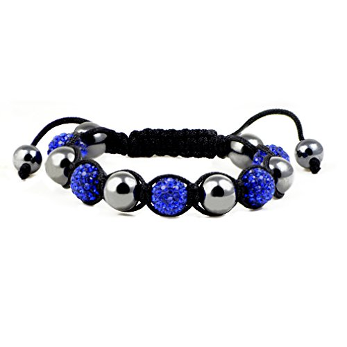 Accents Kingdom Magnetic Hematite Shamballa Inspired Macrame Bracelet with Simulated Sapphire Crystal