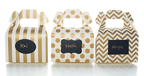 Gold Candy Boxes & Black Label Chalkboard Vinyl Stickers (36 Pack) - Party Favor Boxes, Write Names to Create Custom Stickers on Wedding Favors, Treat Gable Boxes