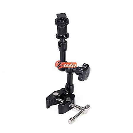 Zeadio Articulating Super Clamp with 1//4 and 3//8 Thread for DSLR Camera Rig//LCD Monitor//LED Lights//Flash Light RigClamp