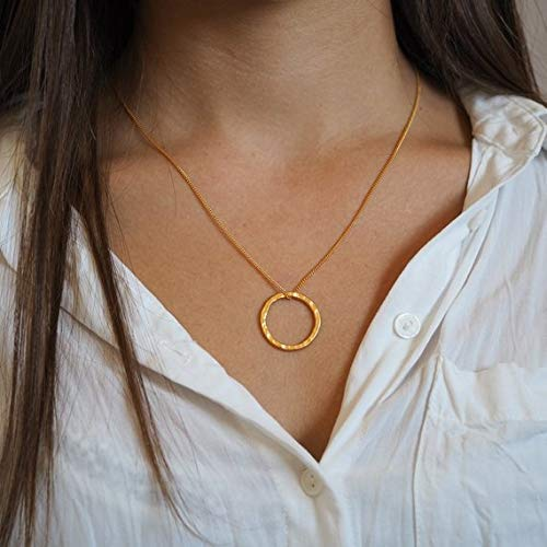 Handmade Eternity Open Circle Pendant Necklace, 24K Gold Plated ()