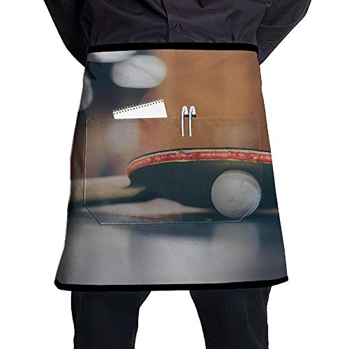 Kjiurhfyheuij Half Short Aprons Table Tennis Waist Apron with Pockets Kitchen Restaurant for Women Men - Pingpong Server