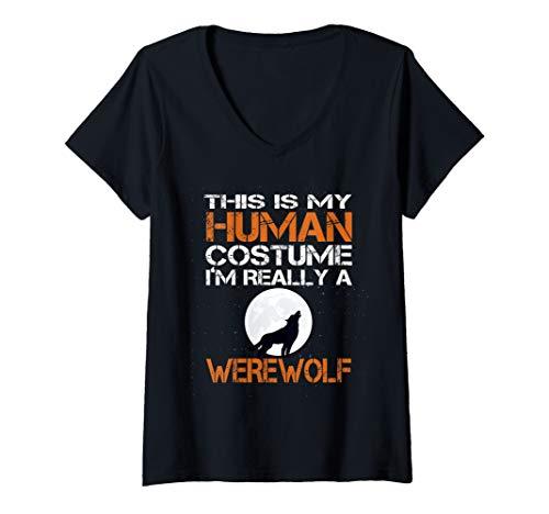 Womens Human Costume Im Really a Werewolf Halloween