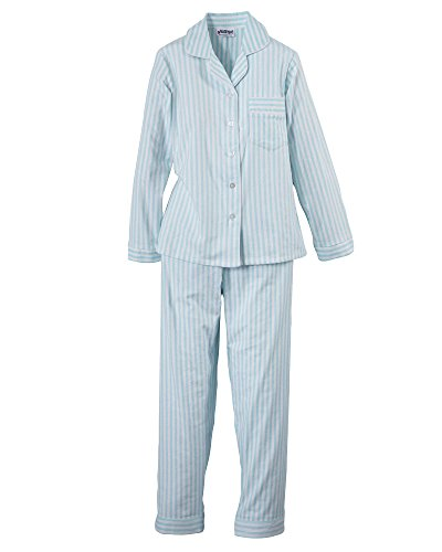 (National Long Sleeve Flannel Pajamas, Aqua, Petite Medium)