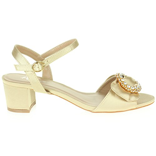 Boda Fiesta Zapatos Abierta Diamante Casual Tacón Oro Ancho Paseo Punta Señoras Sandalias Noche Mujer Tamaño SqtgIg