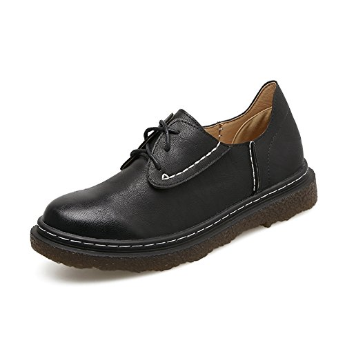 T-JULY Womens Fashion Oxfords Shoes - Comfy Lace-up Low Heel Casual Round Toe Retro Shoes Black