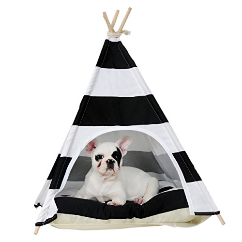 little dove Pet Teepee Dog House Toy Tent Dog Bed 24 Inch Black and White Strip Style (with Thick Cushion)