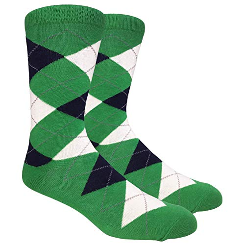 (Men's FineFit Arygle Dress Trouser Socks Assorted Colors - You Choose! (Green))