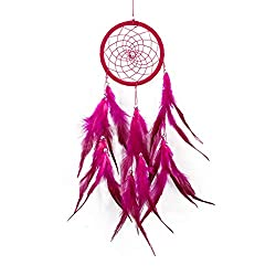 AckfulFeather Wind Chime Home Hanging Window Front Dream Catcher Girl Room Decoration (Hot Pink)
