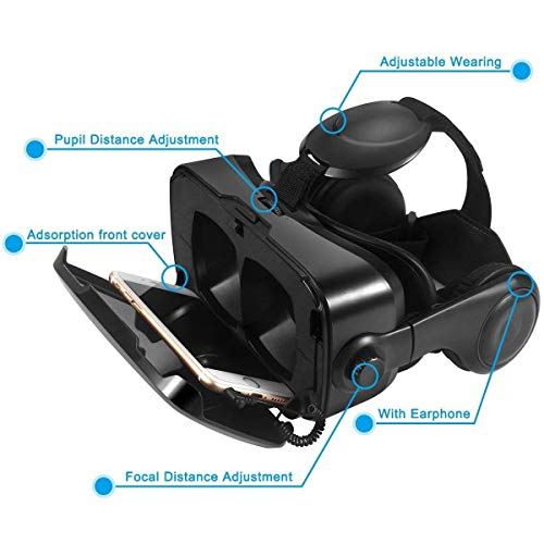 VR Headset,3D Virtual Reality headsets with Remote Controller 3D VR Goggles with Stereo Headphone for 3D Movies & VR Games, Fit for 4.7-6.2 inch iOS/Android Smartphone by ATXXY (Image #2)