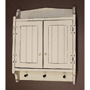 Cabinet Primitive Country Rustic Wood Beadboard Face with Pegs Buttermilk