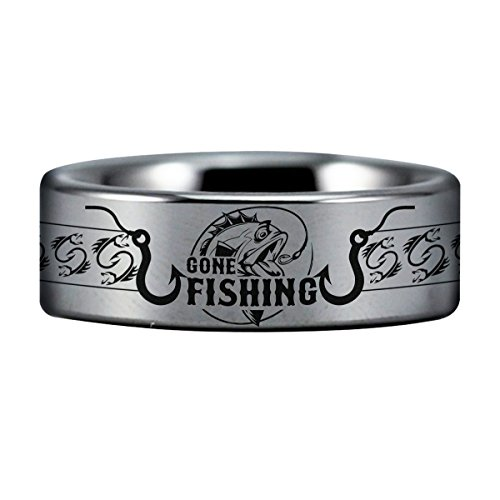 Silver Tungsten Carbide Gone Fishing Ring 8mm Wedding Band and Anniversary Ring for Men and Women Size 9.5 by Friends of Irony
