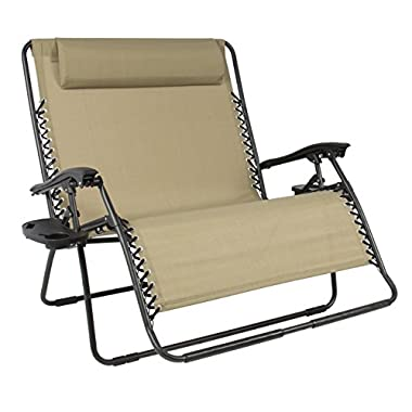 Best ChoiceProducts Huge Folding 2 Person Gravity Chair Double Wide Patio Lounger with 2 Cup holders