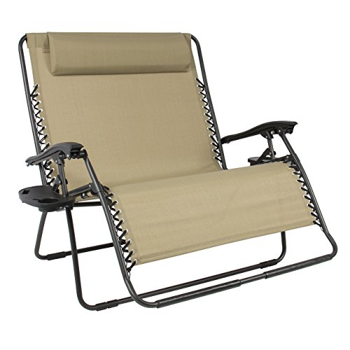 (Best Choice Products Folding 2 Person Oversized Zero Gravity Lounge Chair W/ 2 Accessory Trays Outdoor Patio)