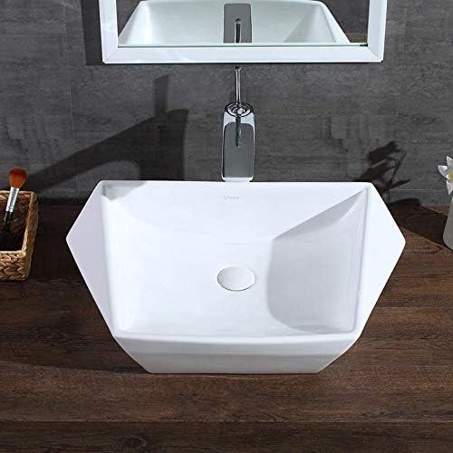 セラミック洗面器 シンプルでモダンなカウンターダイヤモンド幾何セラミックバスルームのシンクの洗面化粧台洗面化粧台トップシンク バスルームキャビネットシンク (色 : 白, Size : 60X42.5X15.5CM)