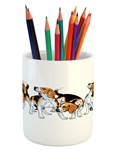 Ambesonne Beagle Pencil Pen Holder, Four Beagle Hounds Sibli