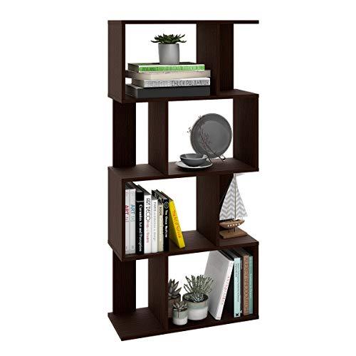 (WLIVE 4 Tier Bookcase, Storage Shelf and Storage Cabinet Organizer Espresso)