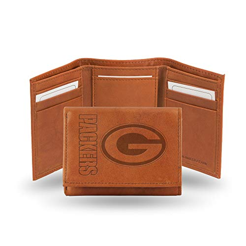 NFL Green Bay Packers Embossed Leather Trifold Wallet, Tan ()