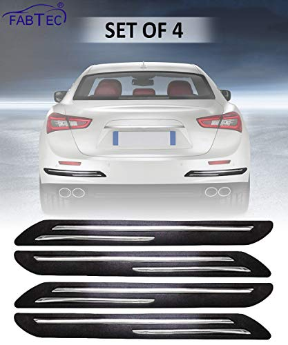 FABTEC Rubber Car Bumper Protector Guard with Double Chrome Strip for Car 4Pcs – Black (for All car)