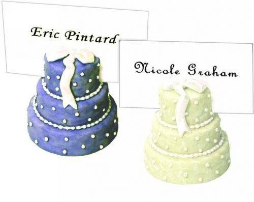 (Wedding Cake Place Card Holder 20 Pc Set Gift Party Favors Light Blue & Ivory)