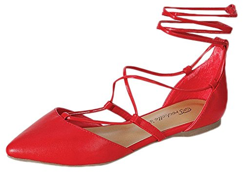 Breckelles Ea62 Donne In Similpelle Punta Appuntita Dorsay Gilly Tie Wrap Flat Red 5.5