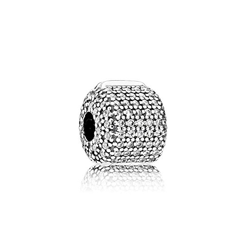 PANDORA Pav Barrel Clip Charm, Sterling Silver, Clear Cubic Zirconia, One Size