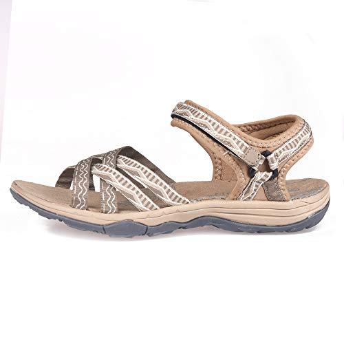 Image of GRITION Women Hiking Sandals, Outdoor Girl Sport Summer Flat Beach Water Shoes Open Toe Adjustable Walking Shoes