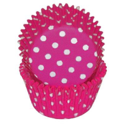 Pink with White Dots - 24 Polka Dot Baking Cups Cupcake Line